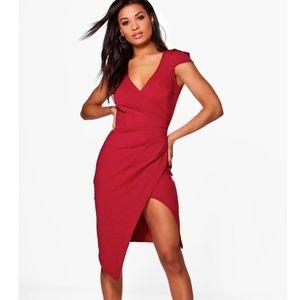 NEW BooHoo Red Wrap Cap Sleeve Midi Sexy Dress, 2